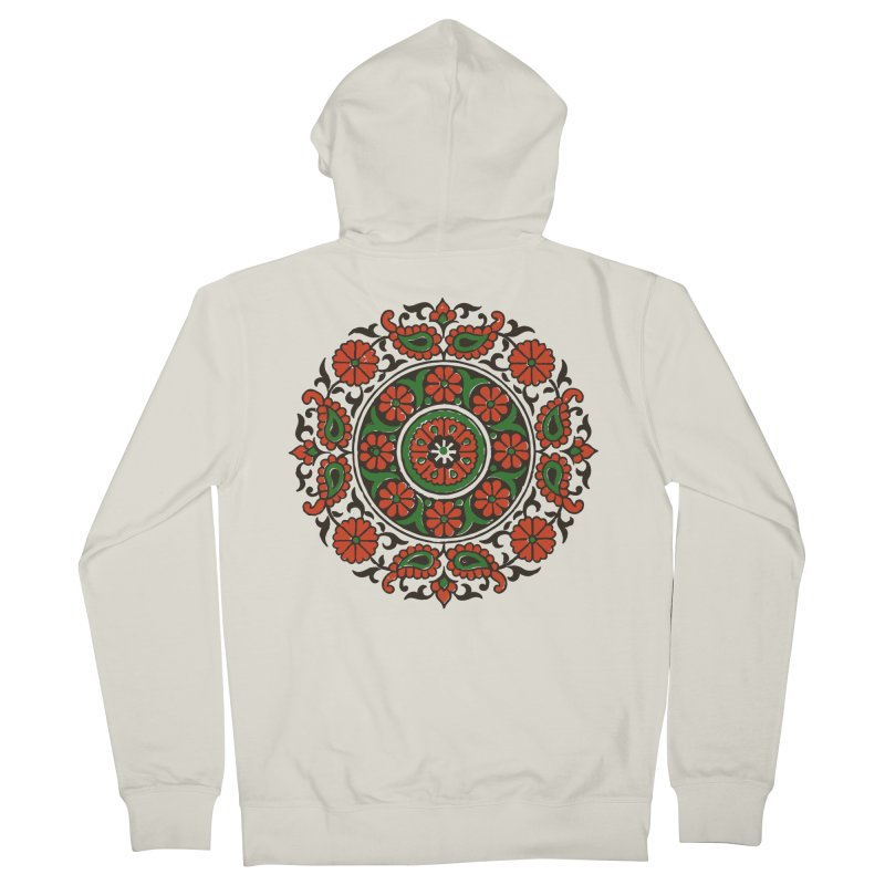 Mandala Red/Green Women's French Terry Zip-Up Hoody by Art On Everything