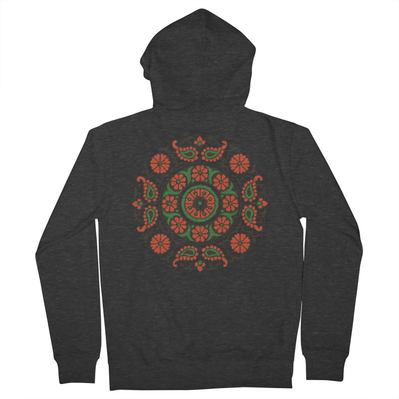 Mandala Red/Green Men's Zip-Up Hoody by Art On Everything