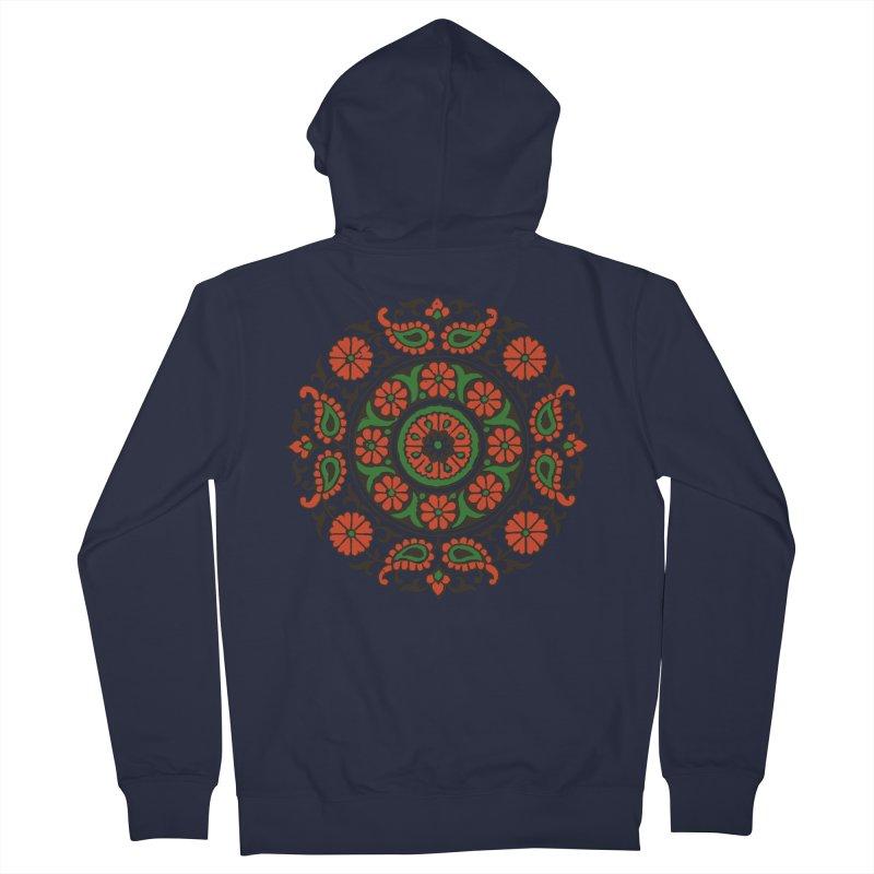 Mandala Red/Green Men's Zip-Up Hoody by Art On Everything