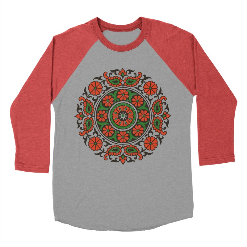 Mandala Red/Green Women's Baseball Triblend T-Shirt by Art On Everything