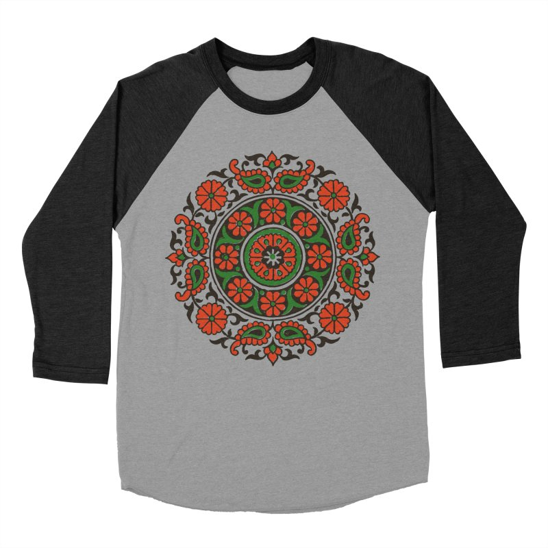 Mandala Red/Green Men's Baseball Triblend T-Shirt by Art On Everything