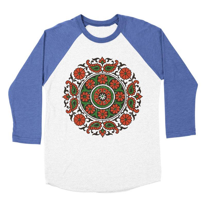 Mandala Red/Green Men's Baseball Triblend T-Shirt by Art On Everything