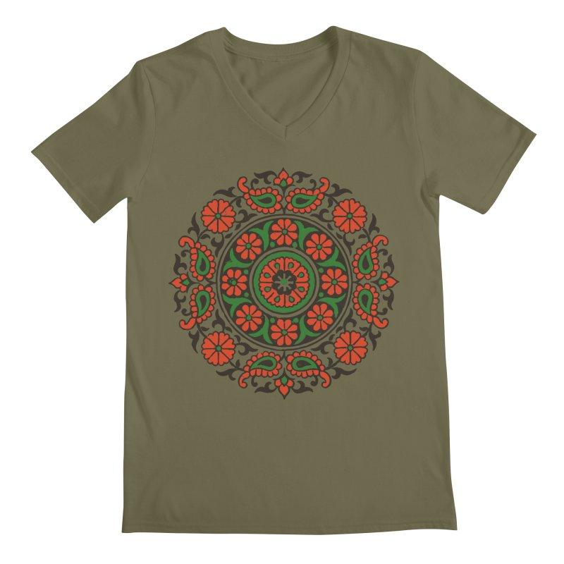 Mandala Red/Green Men's Regular V-Neck by Art On Everything