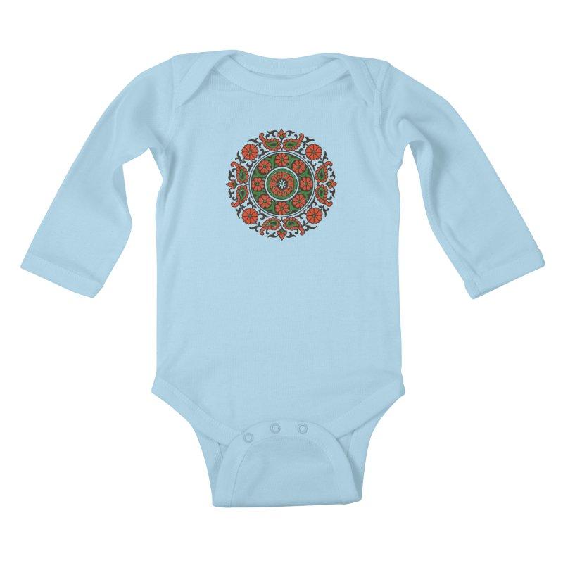 Mandala Red/Green Kids Baby Longsleeve Bodysuit by Art On Everything
