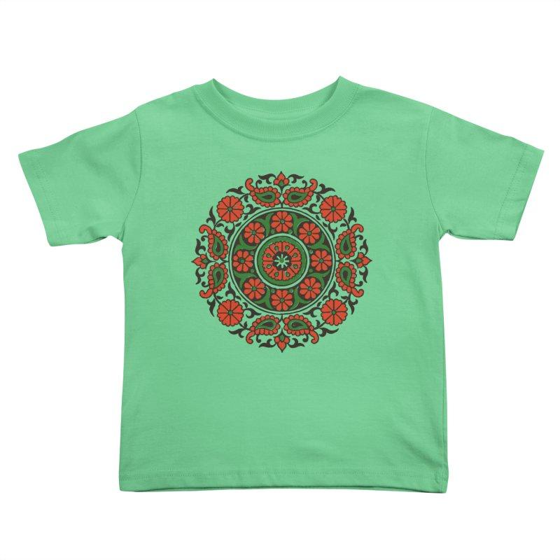 Mandala Red/Green Kids Toddler T-Shirt by Art On Everything