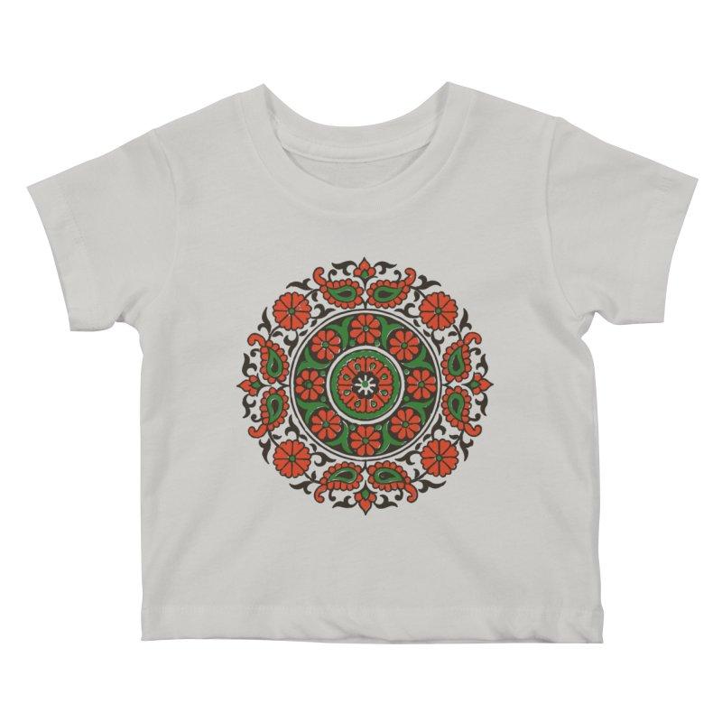 Mandala Red/Green Kids Baby T-Shirt by Art On Everything