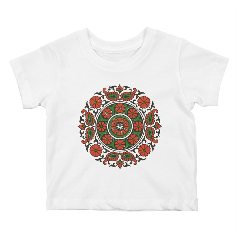 Mandala Red/Green Kids Baby T-Shirt by Art On Everything