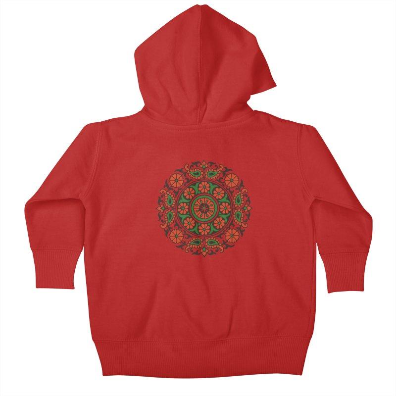 Mandala Red/Green Kids Baby Zip-Up Hoody by Art On Everything