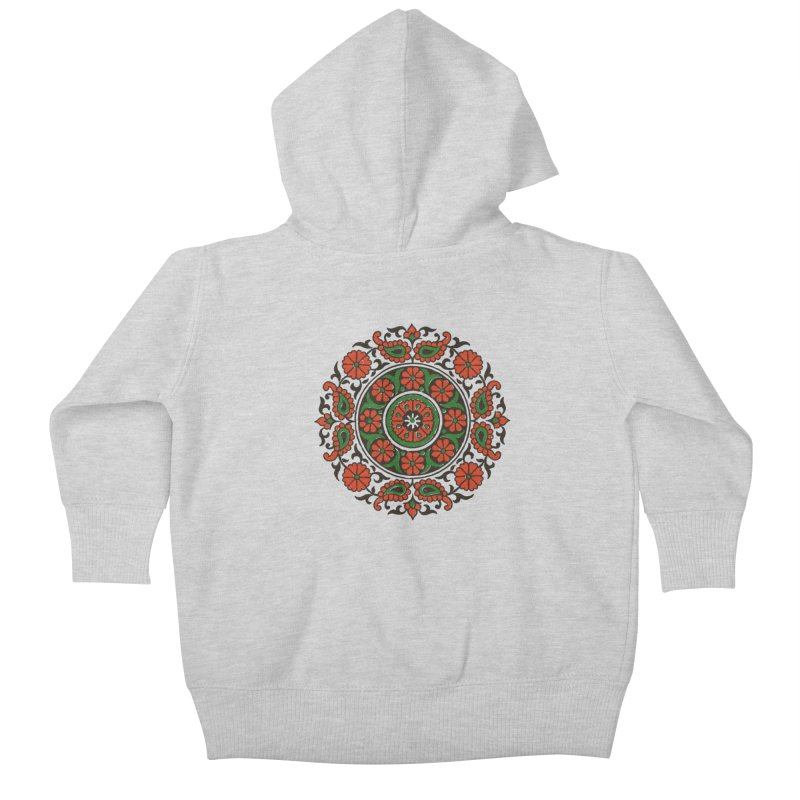 Mandala Red/Green Kids Baby Zip-Up Hoody by Art On Everything