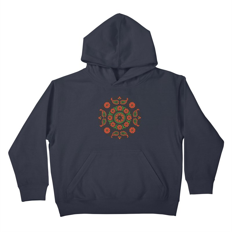 Mandala Red/Green Kids Pullover Hoody by Art On Everything