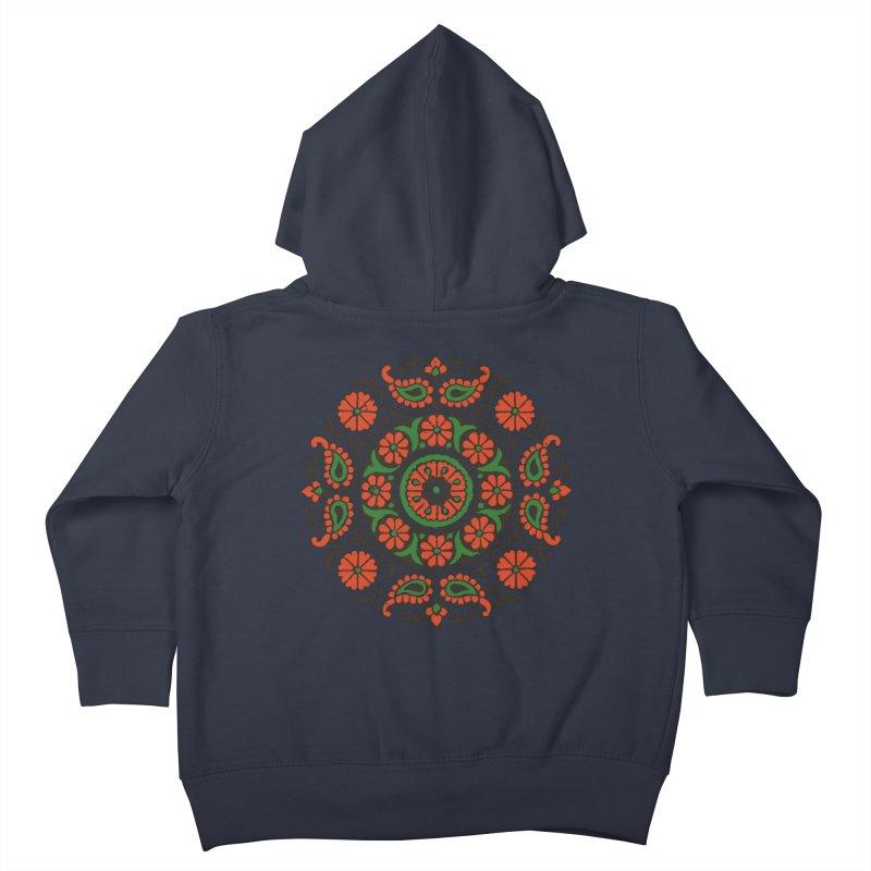 Mandala Red/Green Kids Toddler Zip-Up Hoody by Art On Everything