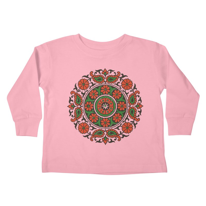 Mandala Red/Green Kids Toddler Longsleeve T-Shirt by Art On Everything