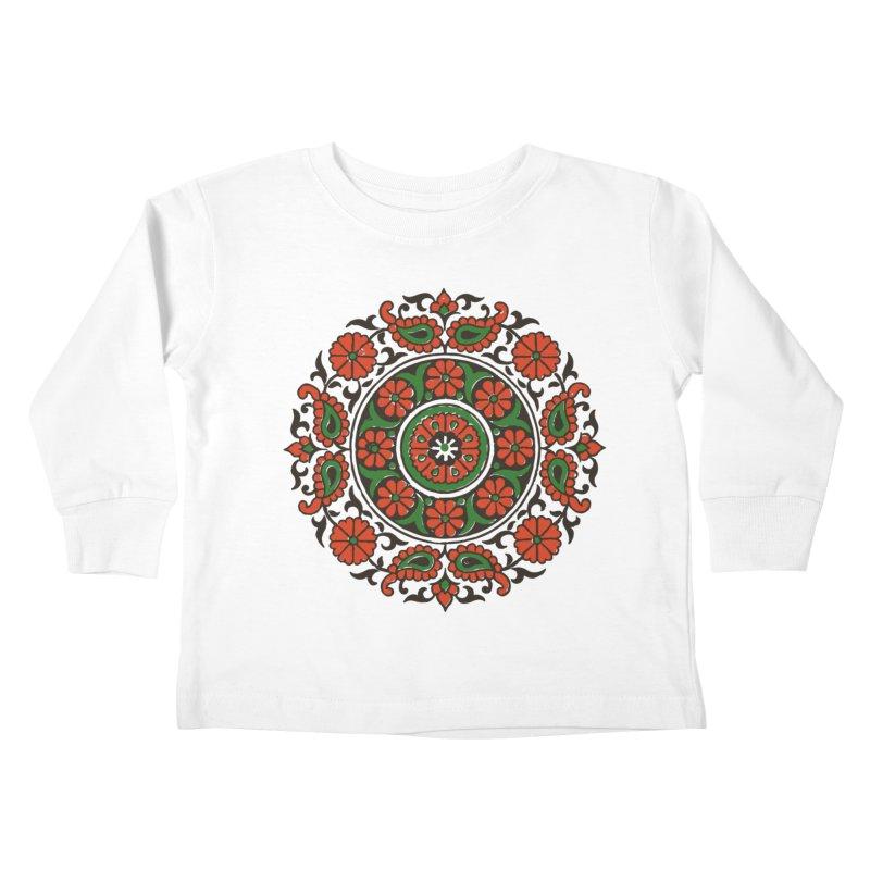 Mandala Red/Green Kids Toddler Longsleeve T-Shirt by Art On Everything