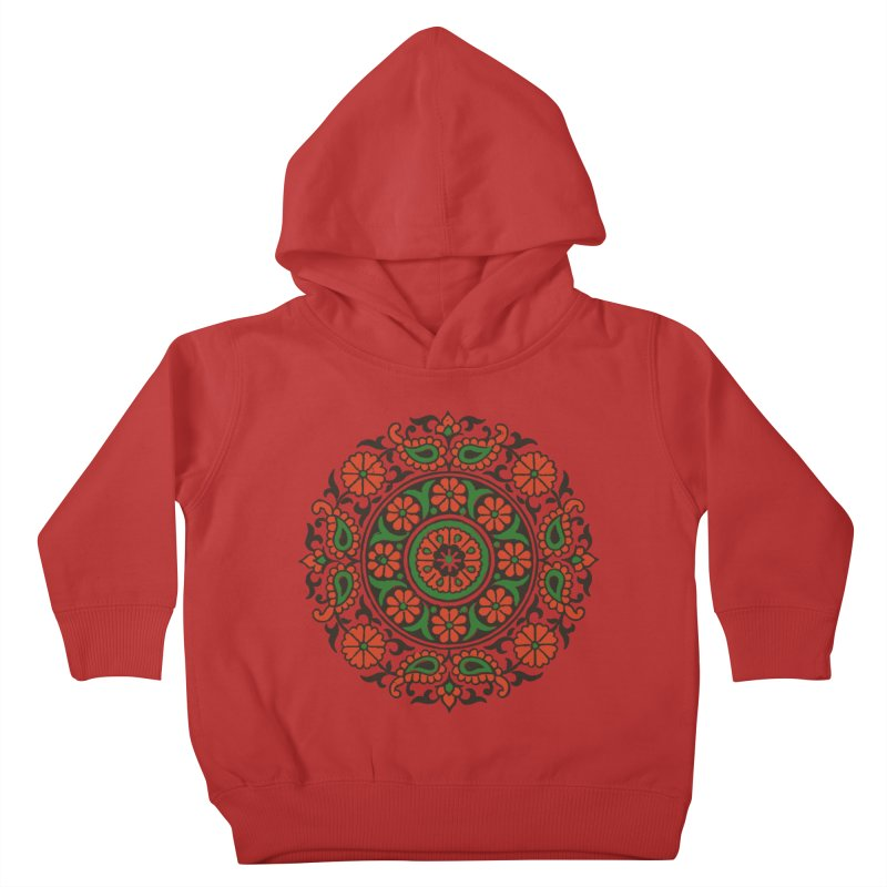 Mandala Red/Green Kids Toddler Pullover Hoody by Art On Everything
