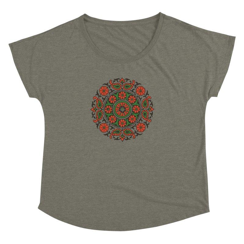 Mandala Red/Green Women's Dolman by Art On Everything
