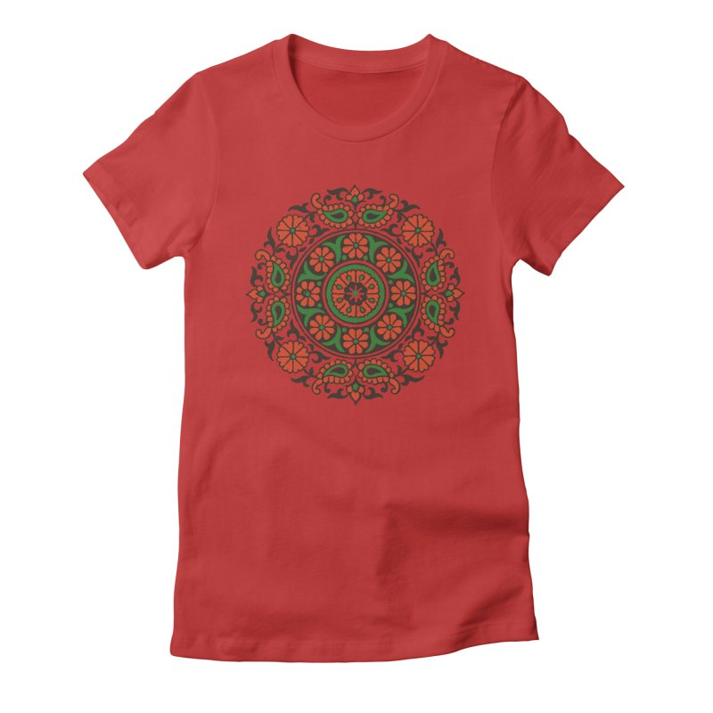 Mandala Red/Green Women's Fitted T-Shirt by Art On Everything
