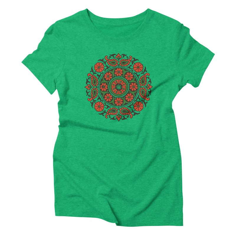 Mandala Red/Green Women's Triblend T-Shirt by Art On Everything