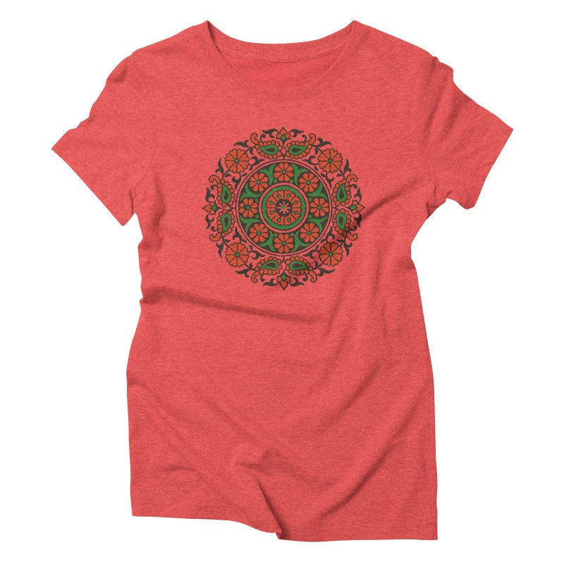 Mandala Red/Green Women's Triblend T-Shirt by Art On Everything