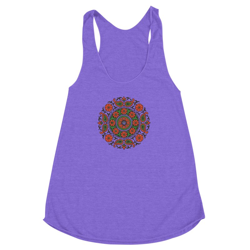 Mandala Red/Green Women's Racerback Triblend Tank by Art On Everything