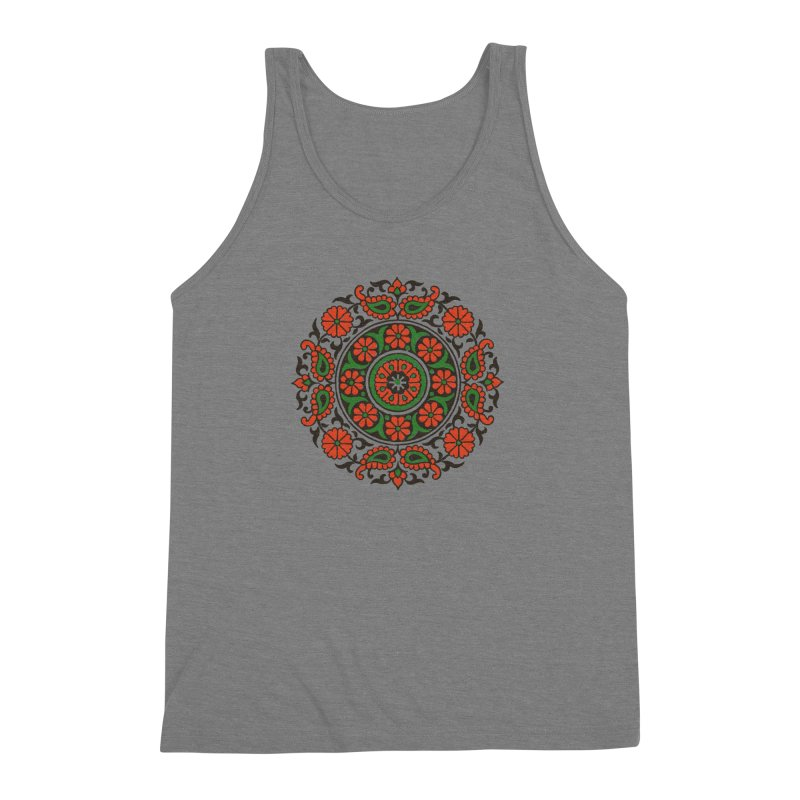 Mandala Red/Green Men's Triblend Tank by Art On Everything