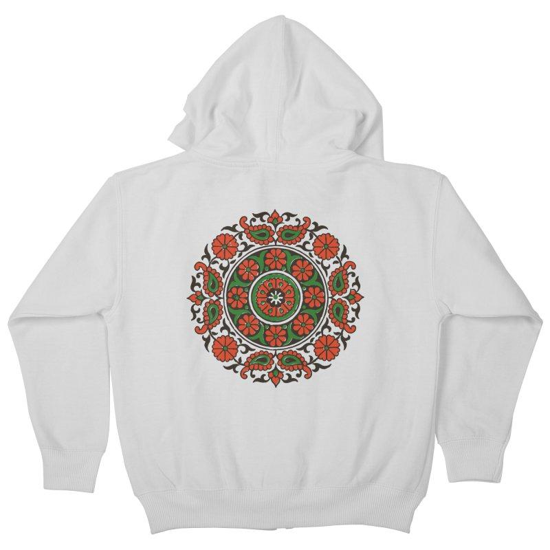 Mandala Red/Green Kids Zip-Up Hoody by Art On Everything