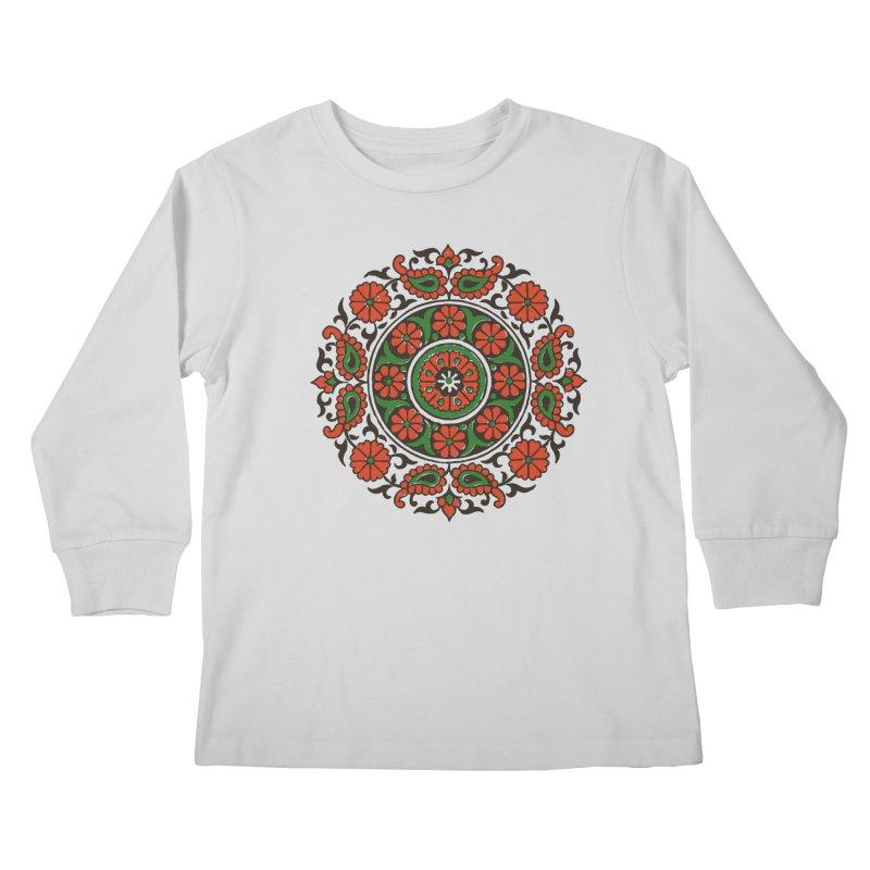 Mandala Red/Green Kids Longsleeve T-Shirt by Art On Everything