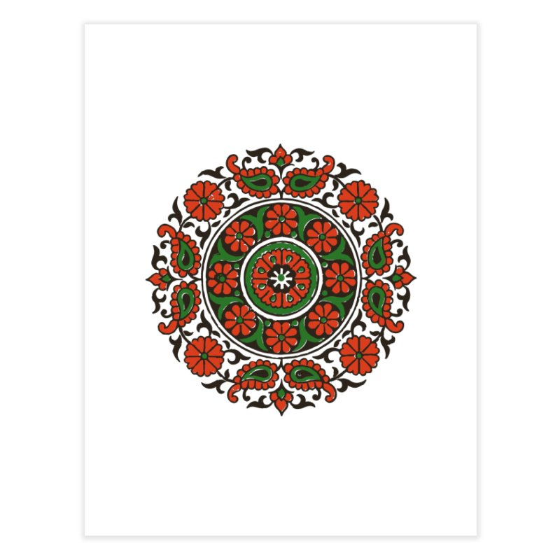 Mandala Red/Green Home Fine Art Print by Art On Everything