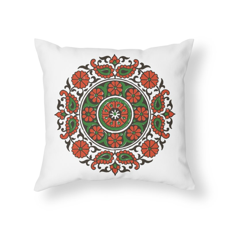 Mandala Red/Green Home Throw Pillow by Art On Everything