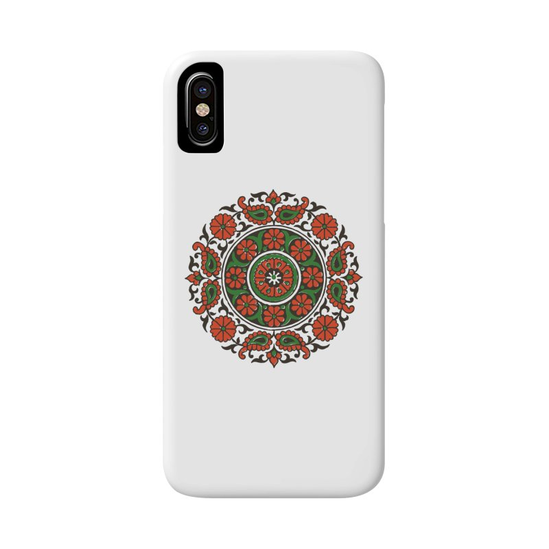 Mandala Red/Green Accessories Phone Case by Art On Everything