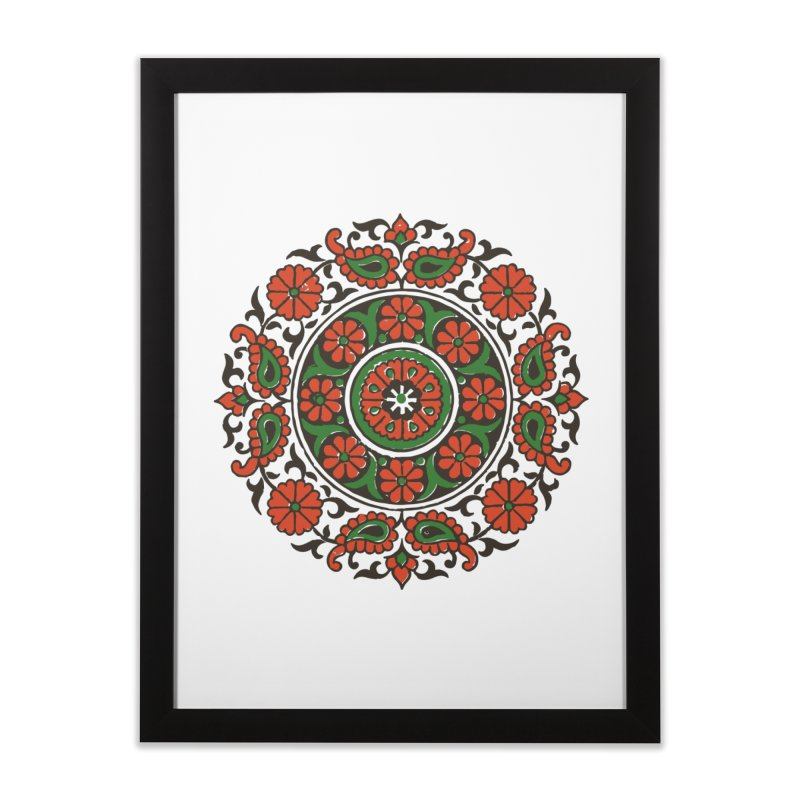 Mandala Red/Green Home Framed Fine Art Print by Art On Everything