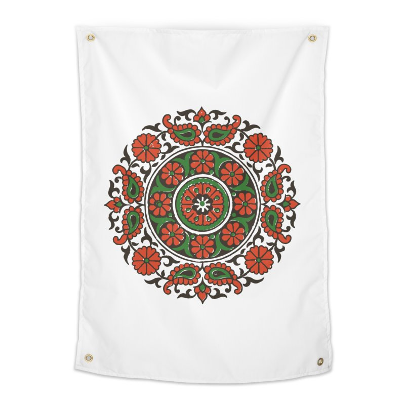 Mandala Red/Green Home Tapestry by Art On Everything