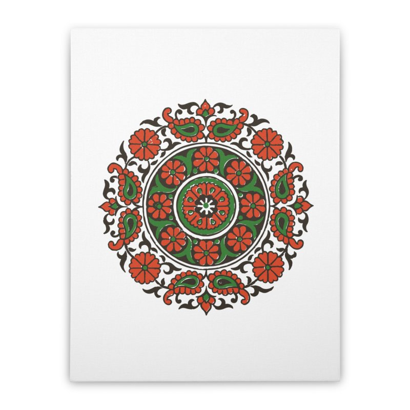 Mandala Red/Green Home Stretched Canvas by Art On Everything