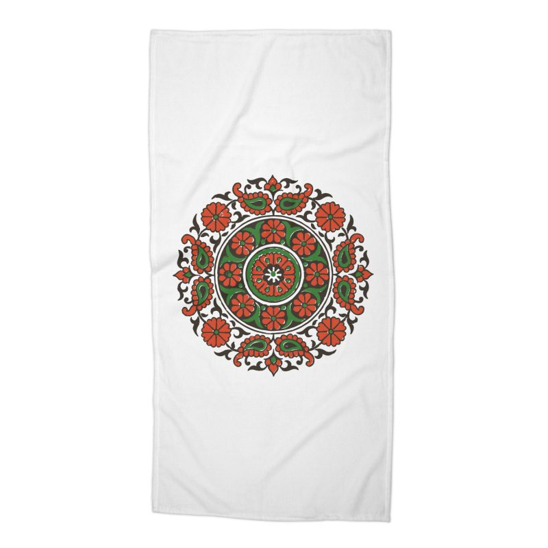 Mandala Red/Green Accessories Beach Towel by Art On Everything
