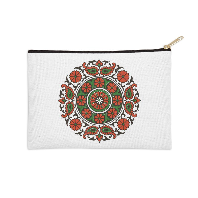 Mandala Red/Green Accessories Zip Pouch by Art On Everything