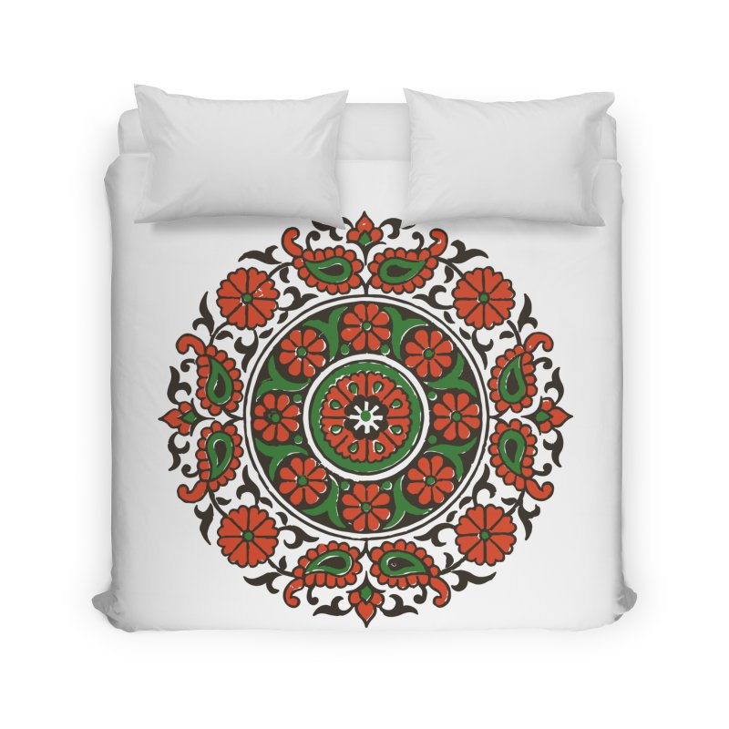 Mandala Red/Green Home Duvet by Art On Everything