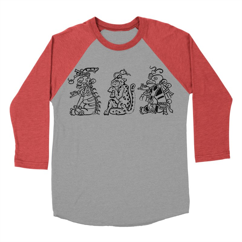 Mayan Figures Men's Baseball Triblend T-Shirt by Art On Everything
