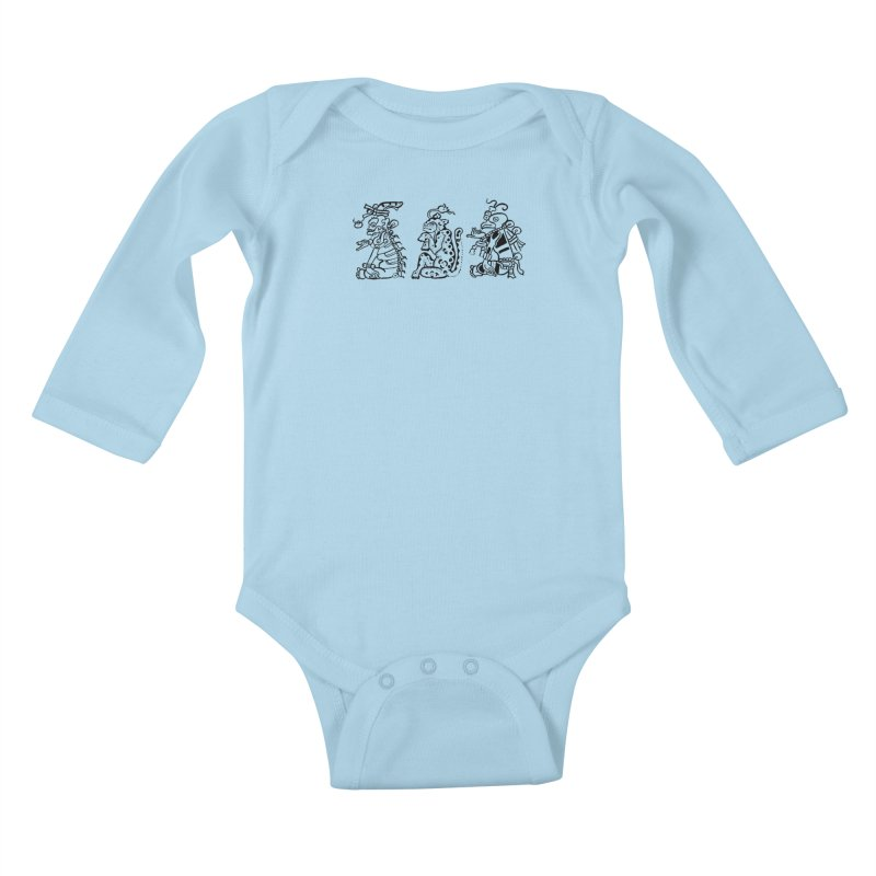 Mayan Figures Kids Baby Longsleeve Bodysuit by Art On Everything