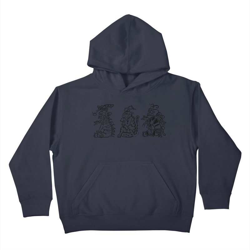 Mayan Figures Kids Pullover Hoody by Art On Everything