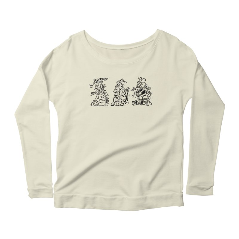 Mayan Figures Women's Longsleeve Scoopneck  by Art On Everything