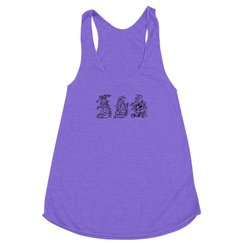 Mayan Figures Women's Racerback Triblend Tank by Art On Everything