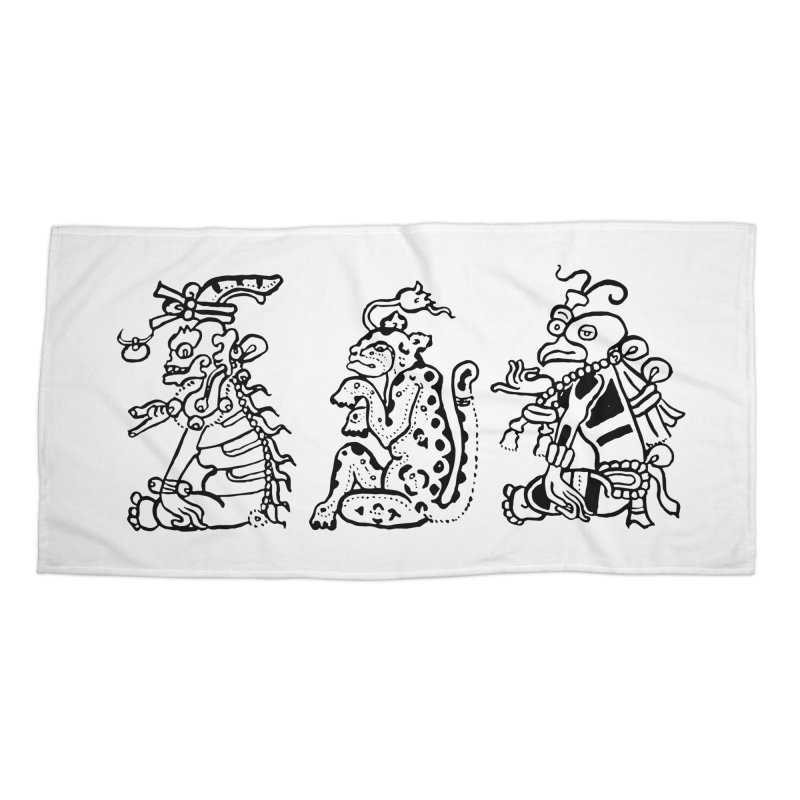 Mayan Figures Accessories Beach Towel by Art On Everything