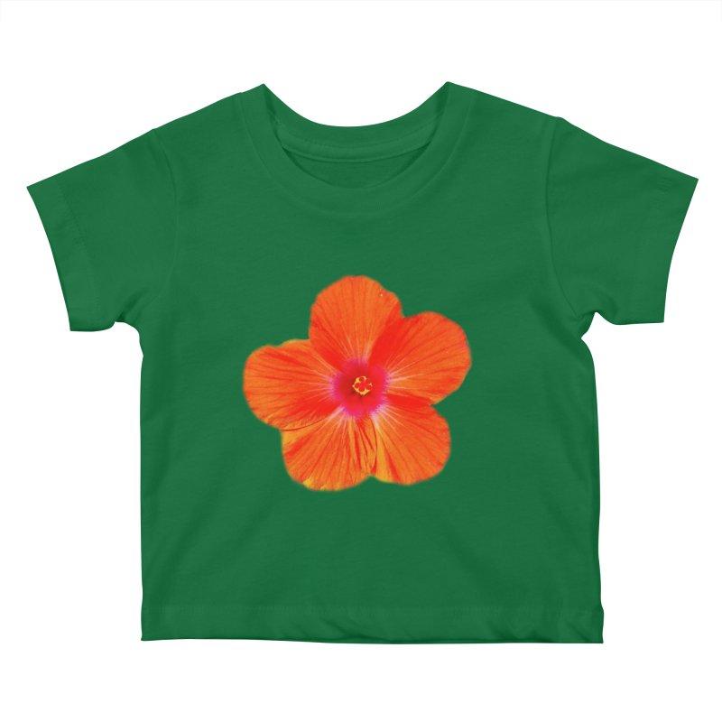 Hibiscus Orange Kids Baby T-Shirt by ❁Art Peace Designs❁
