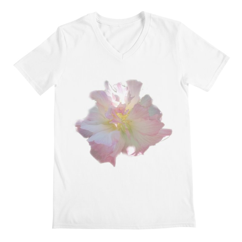 Pink Ruffle Hibiscus Men's V-Neck by ❁Art Peace Designs❁