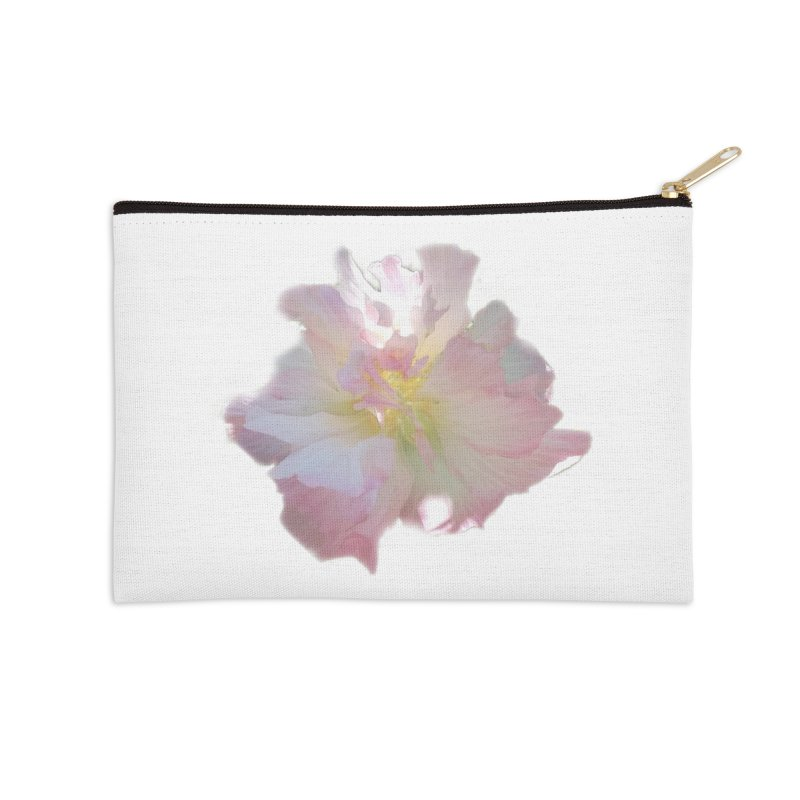 Pink Ruffle Hibiscus Accessories Zip Pouch by ❁Art Peace Designs❁