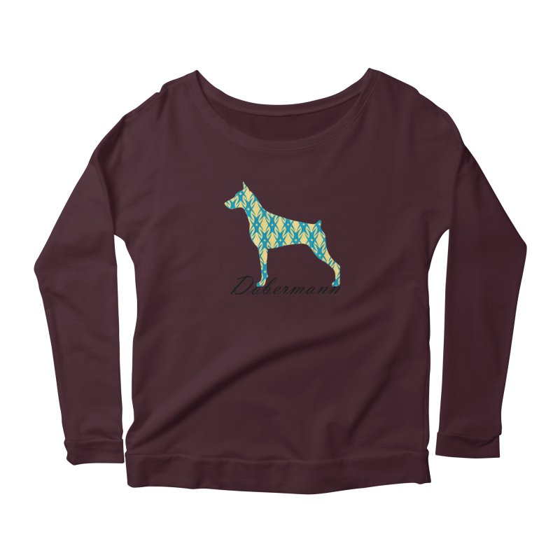 Dobermann Women's Longsleeve Scoopneck  by ArtPharie's Artist Shop