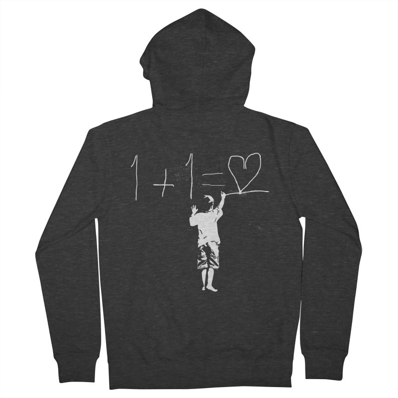 One Plus One Equals Love Men's French Terry Zip-Up Hoody by Artrocity's Artist Shop