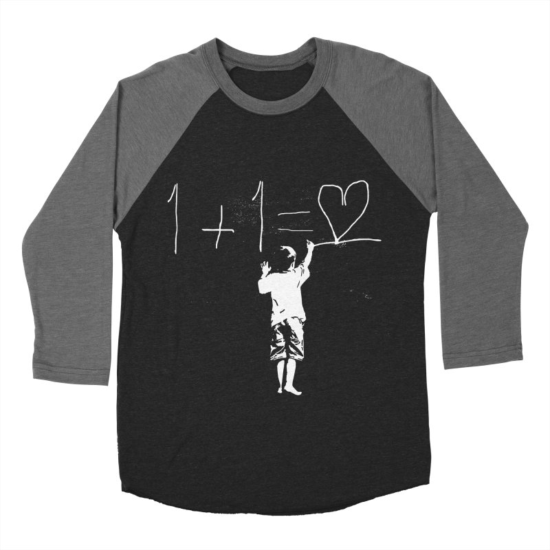 One Plus One Equals Love Men's Baseball Triblend Longsleeve T-Shirt by Artrocity's Artist Shop