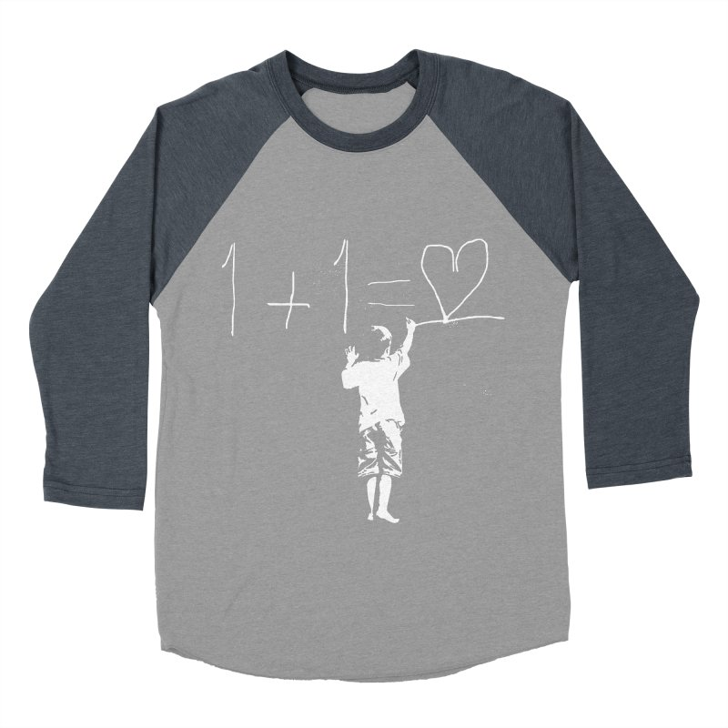One Plus One Equals Love Men's Baseball Triblend T-Shirt by Artrocity's Artist Shop