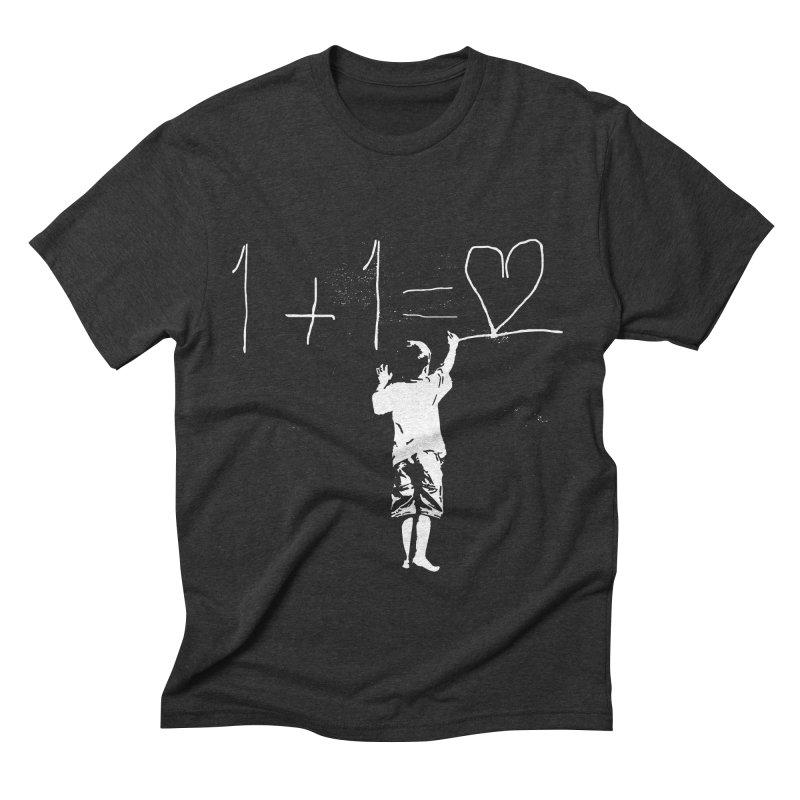 One Plus One Equals Love Men's Triblend T-shirt by Artrocity's Artist Shop