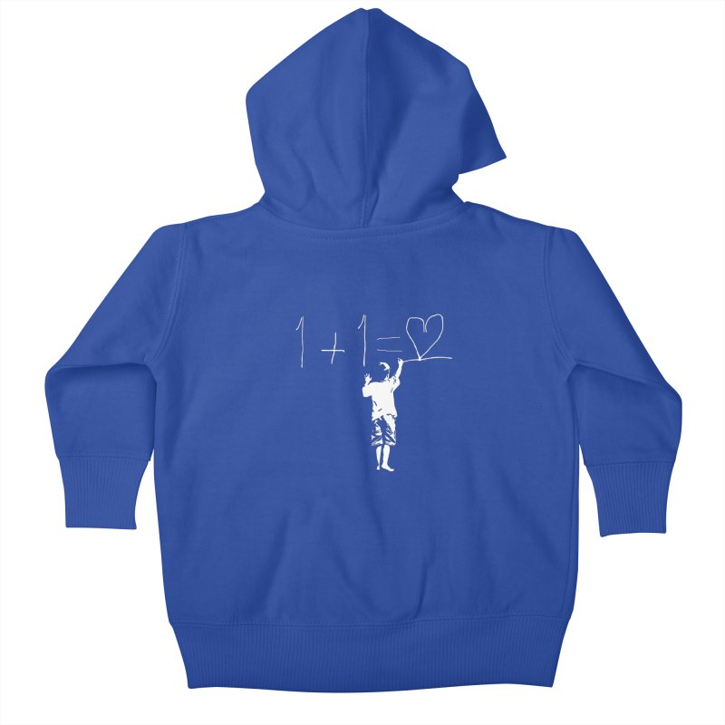 One Plus One Equals Love Kids Baby Zip-Up Hoody by Artrocity's Artist Shop